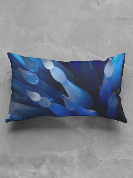 Blue Glass Oblong Pillow