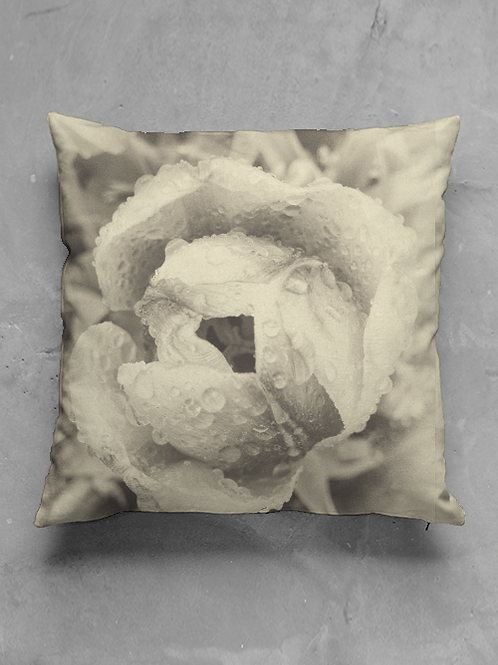 Rose with Dew Pillow