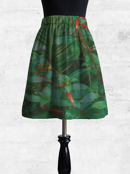 Leaves and Flowers Cupro Skirt