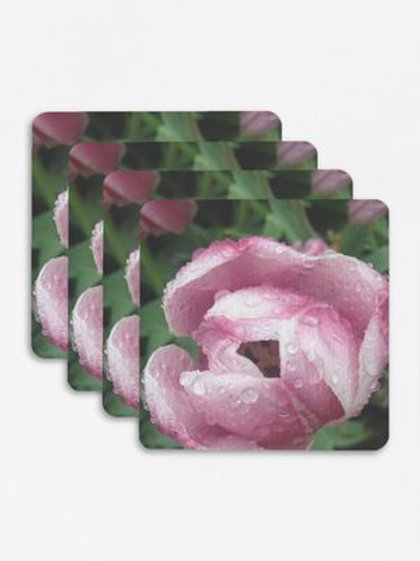 Rose with Dew Square Coasters