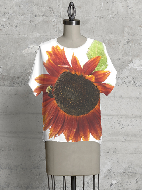 Tee Shirt - Red Sunflower with Bee