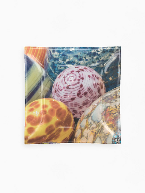 Orbs Glass Tray Square