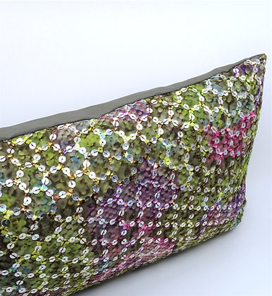Kissenbezug Pailletten grün-rosé 30x50