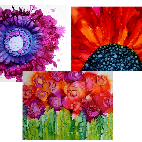 Abstract Florals with Alcohol Ink