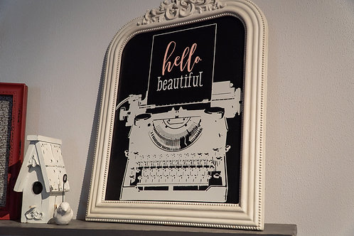 Hello Beautiful typewriter wall art