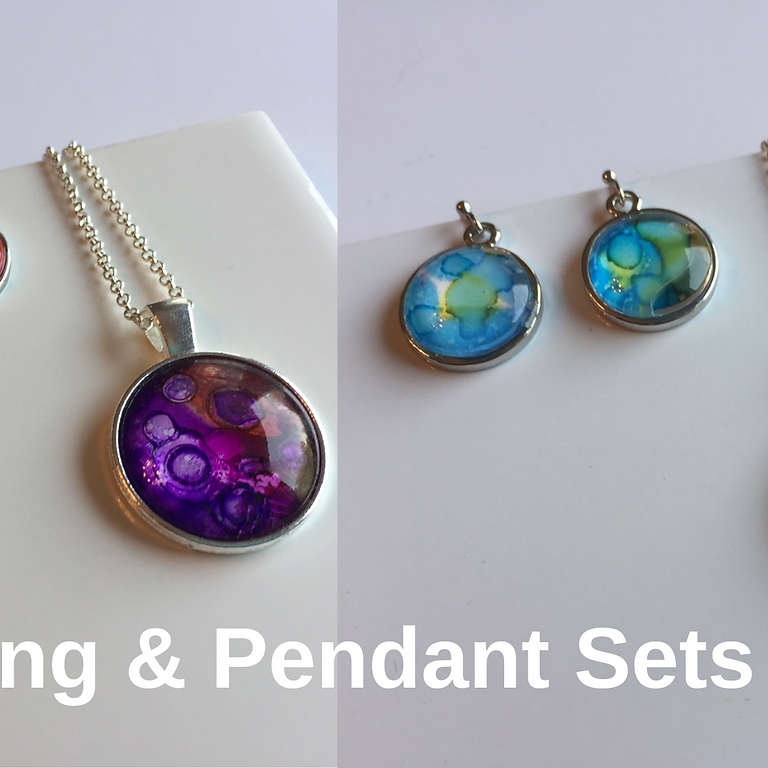 Alcohol Ink Earring & Pendant Sets