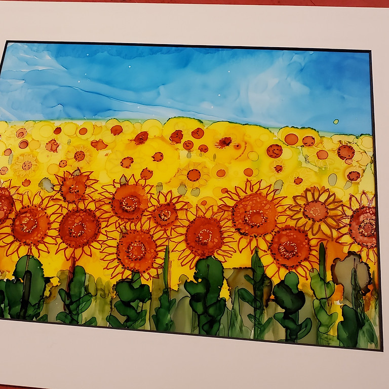 Alcohol Ink Sunflowers Doodle