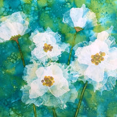 Snow Cap Blooms with Alcohol ink