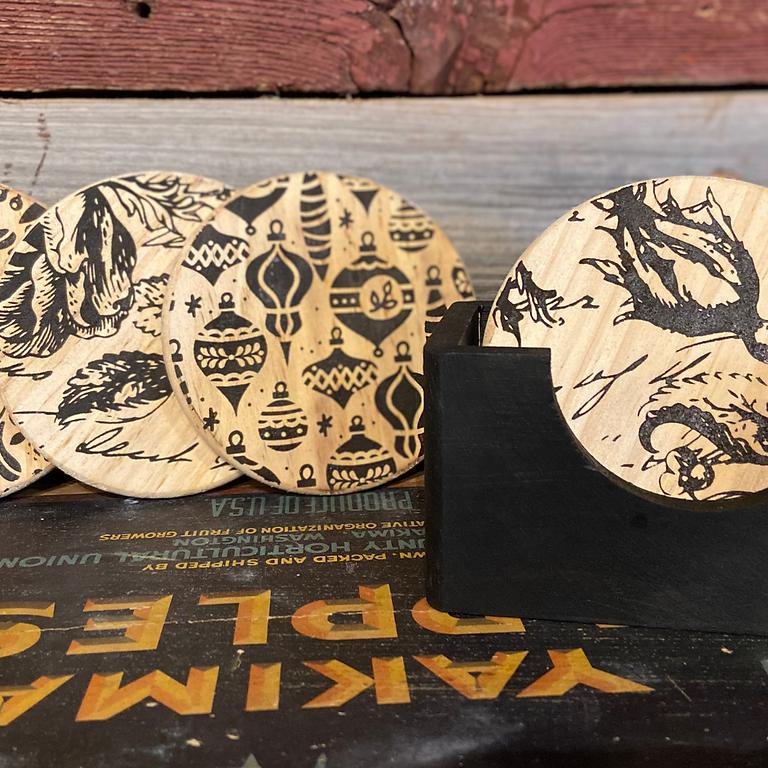 Wood Burn Coaster Set