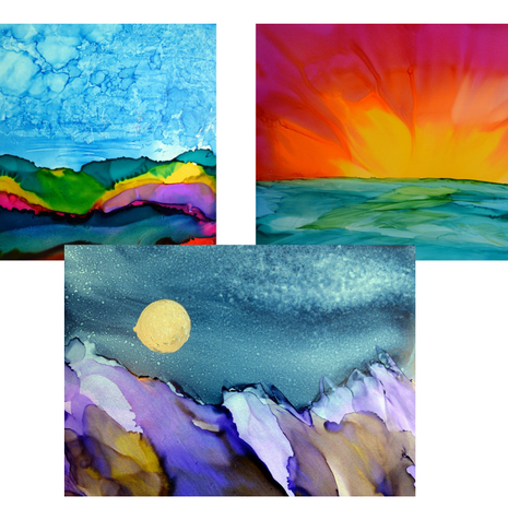 Abstract Landscapes with Alcohol Ink