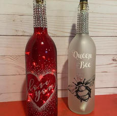 Two Wine Bottles with Lights or Tiki Torches