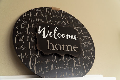 Welcome Home circle sign