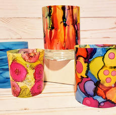 Translucent Candle Screens with Alcohol Ink