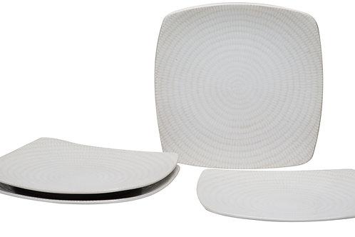 White Rice Square Salad Plate