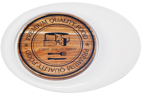 Vanilla Slice Oval Cheese Plate with Acacia Board