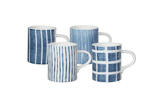 Canvass Blue Mug Set/4