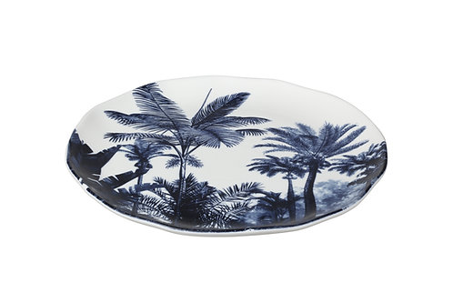 Paradise Palm Blue Side / Salad Plate Set/4