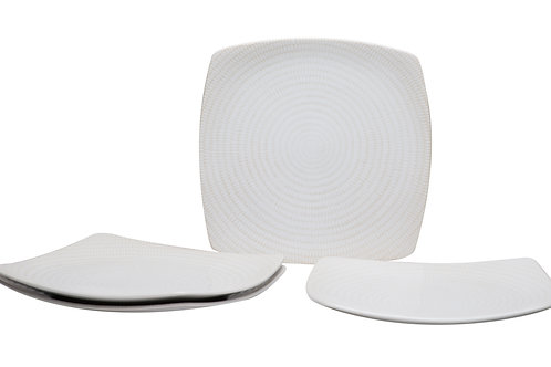 White Rice Square Dinner Plate