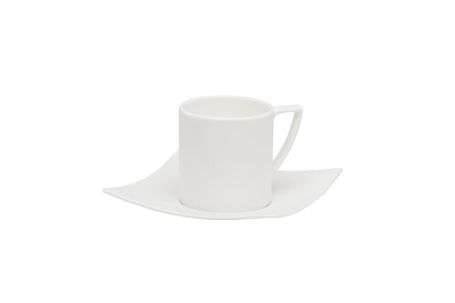 Extreme White Coffee Cup and Saucer