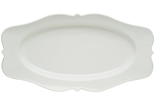 Pinpoint White Oval Platter