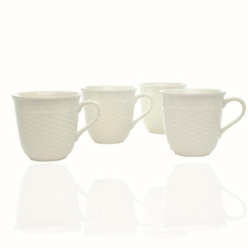 Nantucket White Mug 16oz Set /4