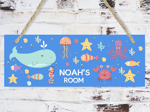 Door or wall signs for kids, sea animals, whales,octopus,crab,starfish