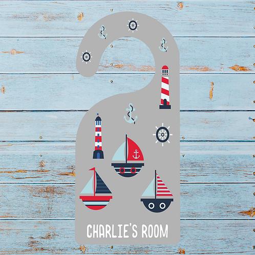 Nautical themed door hanger for kids, sailing boats, hangers, door signs