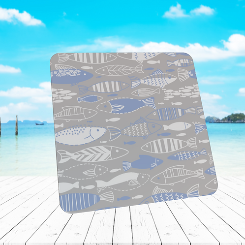 WHITE AND BLUE FISH COASTER