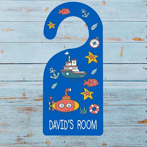 Nautical themed door signs for kids, sailing boats, hangers, door signs