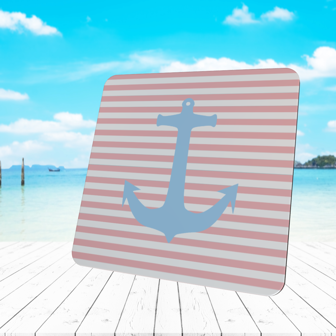 BLUE ANCHOR ON PINK STRIPES COASTER