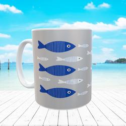 BLUE STRIPED FISH MUG