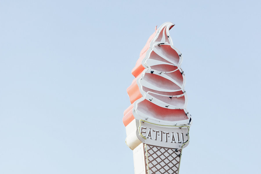 ice cream cone neon sign wsdc