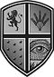 consilium shield logo in grayscale. a lion, some wheat, stars and an open eye in each segment.