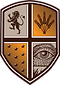 consilium shield logo in orange and brown. a lion, some wheat, stars and an open eye in each segment.
