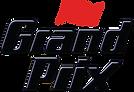 grand prix logo. red chequered flag over words grand prix. consilium client.