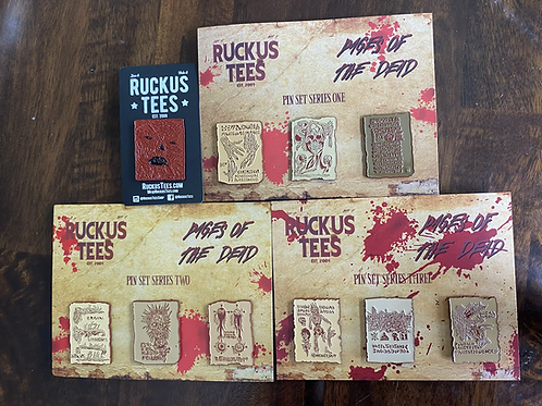 Complete Pages of the Dead Enamel Pin Set