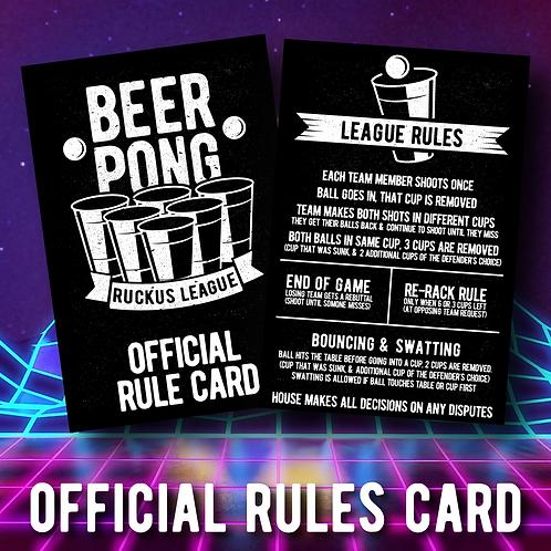 Beer Pong Ruckus League Rules Card 2