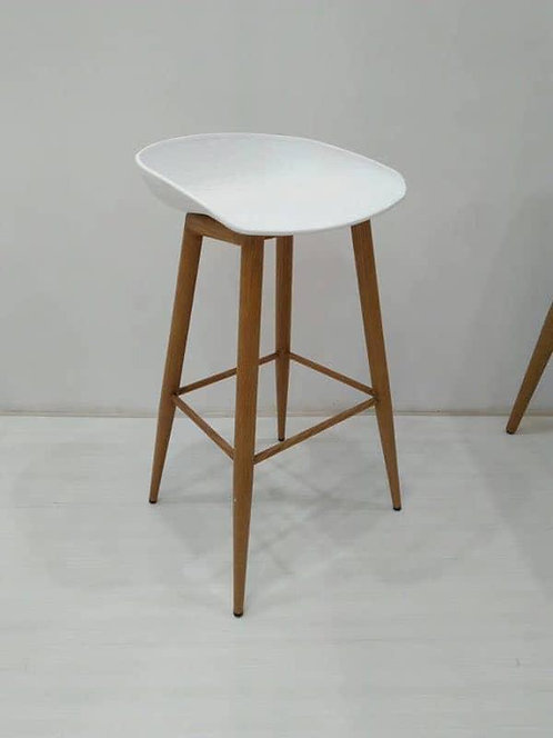 White Barstools with Wooden Legs
