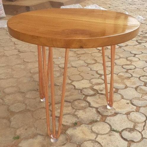 Circular Miso Mahogany Coffee Table with Hair pin Legs