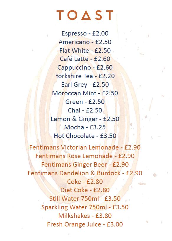 Tea, coffee & soft drinks menu March 202