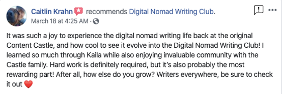 Caitlin Krahn's review of the Digital Nomad Writing Club
