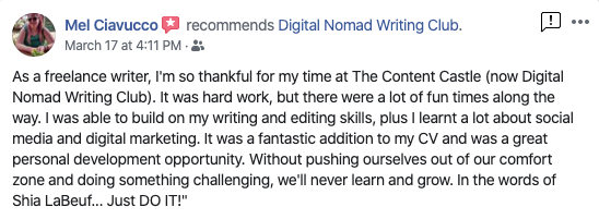 Mel Ciavucco's review of the Digital Nomad Writing Club