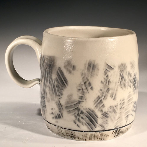 Gray & White Mug Porcelain Wood-Fired