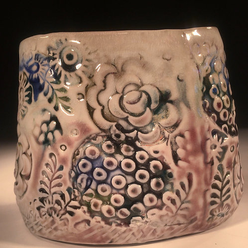 Stamped Oval Porcelain Vase #2