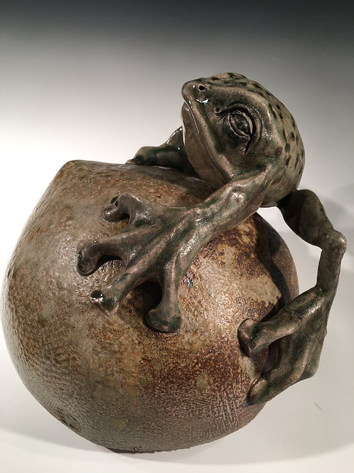 Green Frog Wood and Salt Fired