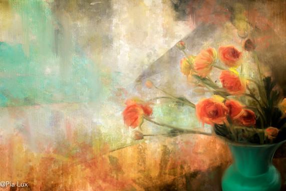 Pot with orange flowers