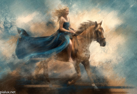 Freedom on the golden stallion