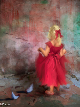 Little girl with red dress