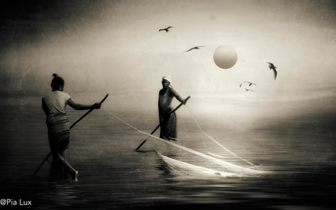 Fishing in the sun - sepia