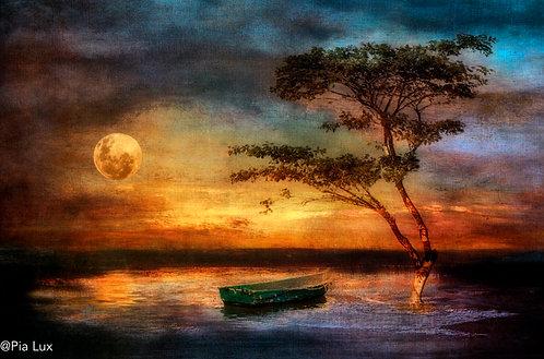 In the hushing dusk, under the swolen golden moon